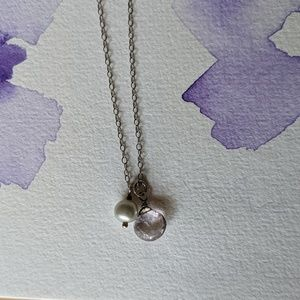 Jewelry - Pearl and purple charm necklace